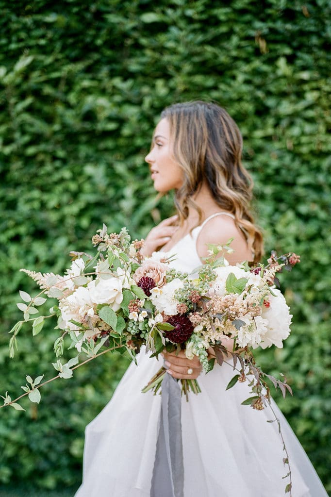 Bridal bouquet by Emily Reynold Design: Kestrel Park California Wedding Inspiration Styled Shoot captured by Pittsburgh Wedding Photographer Lauren Renee