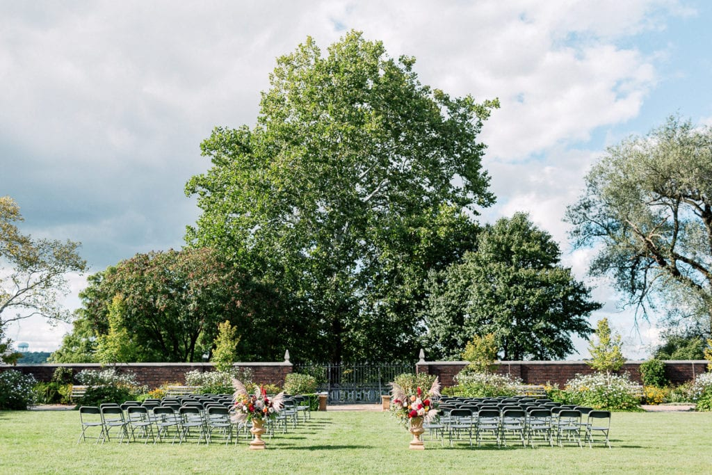 Wedding ceremony at the walled garden at mellon park