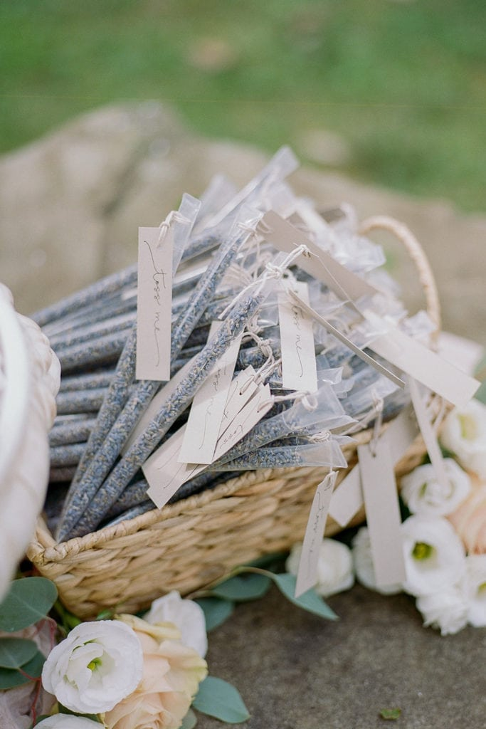 Lavender send off packets for guests to use at ceremony