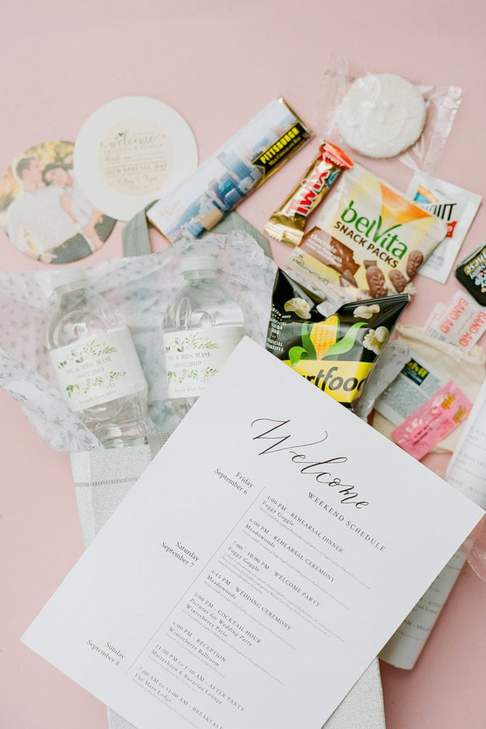 welcome bag for seven springs wedding