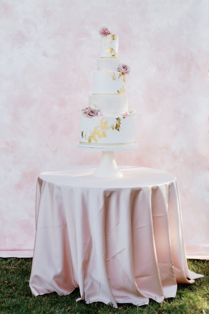 "Tasty Bakery three tiered wedding cake with mauve flowers: ""Pretty in Pink"" Wedding Inspiration"