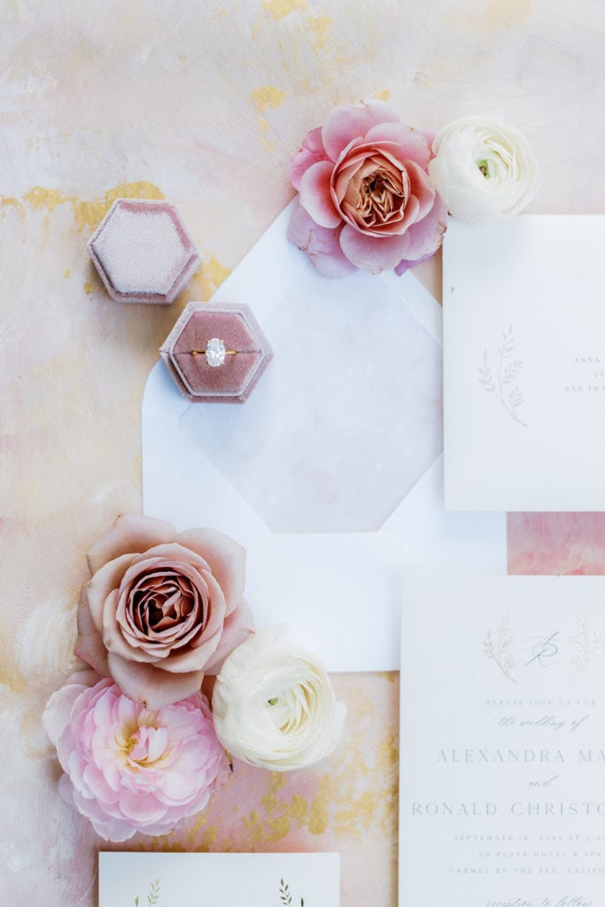 Pink Wedding invitations from minted with mauve velvet ring box and flowers
