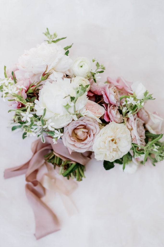"Pink bridal bouquet with silk and willow ribbon on lindale studios mat: ""Pretty in Pink"" Wedding Inspiration"
