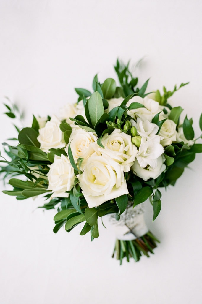 White and green bridal bouquet from Allison McGeary