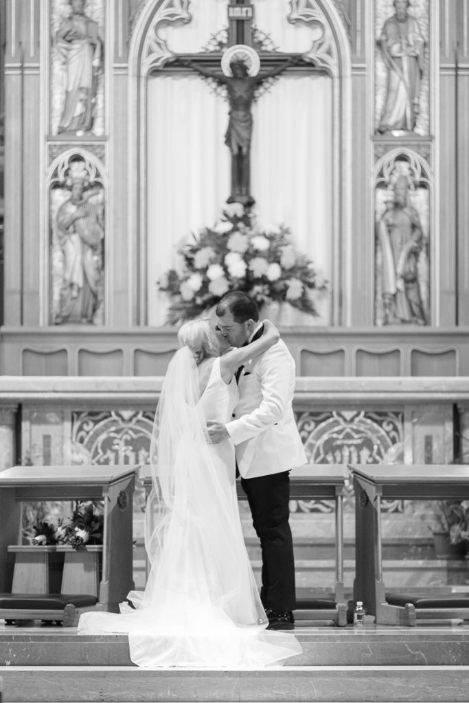 Bride and groom's first kiss after ceremony