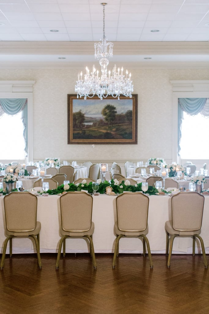 Elegant ballroom set up at the Pittsburgh Field Club