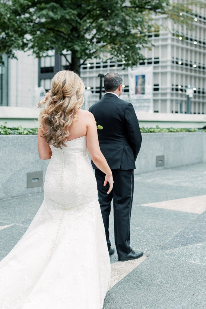 Bride and groom first look in downtown Pittsburgh