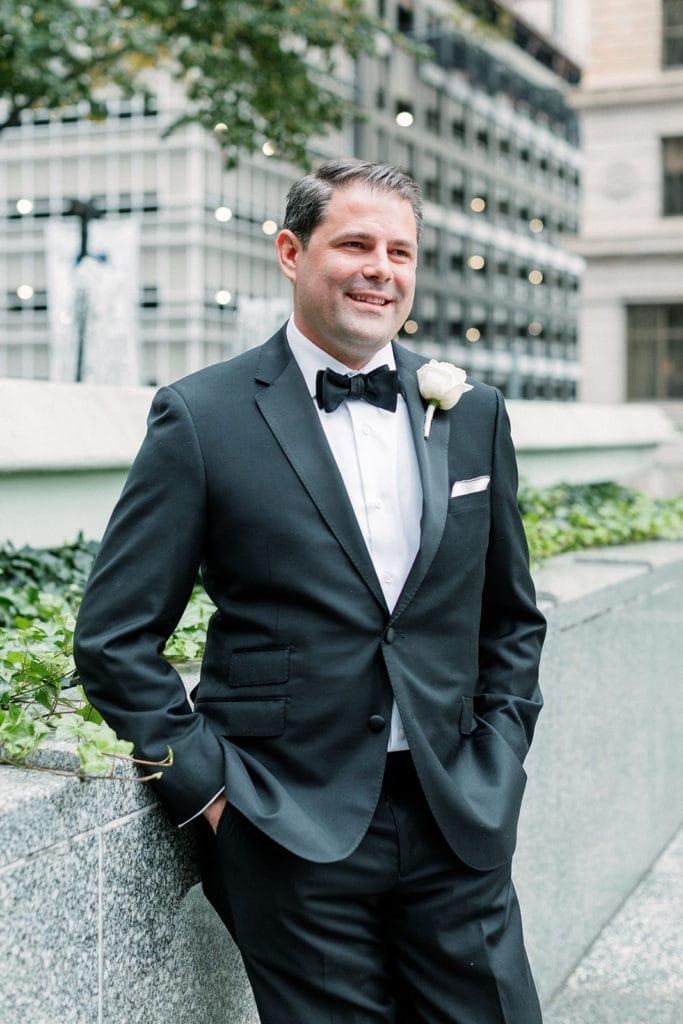 Classic black groom's wedding tuxedo