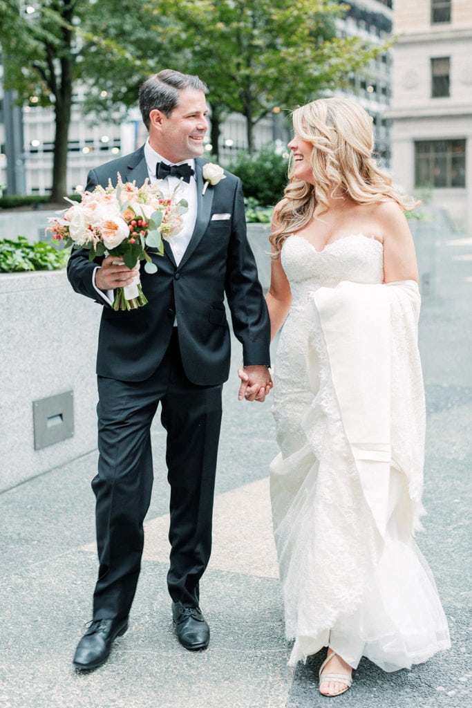 Bride and groom wedding portrait in downtown Pittsburgh