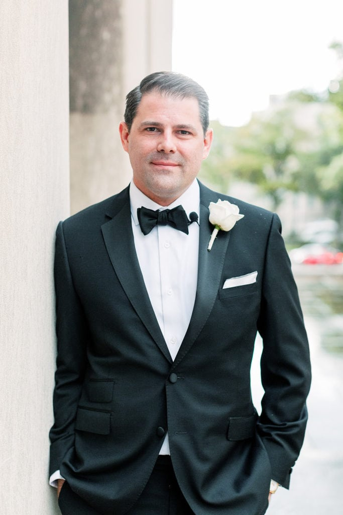White wedding boutonniere by Mocha Rose Floral