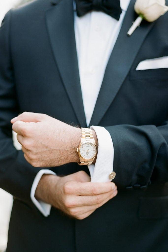 Groom's gold watch and cufflinks