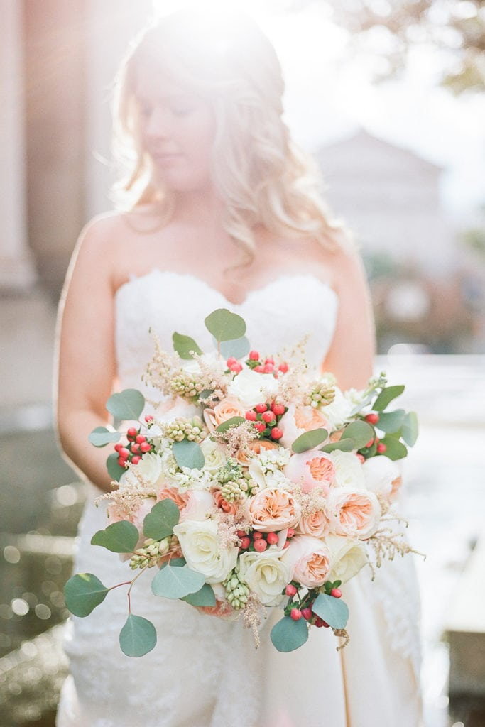 Bridal portrait with pink and rose wedding bouquet