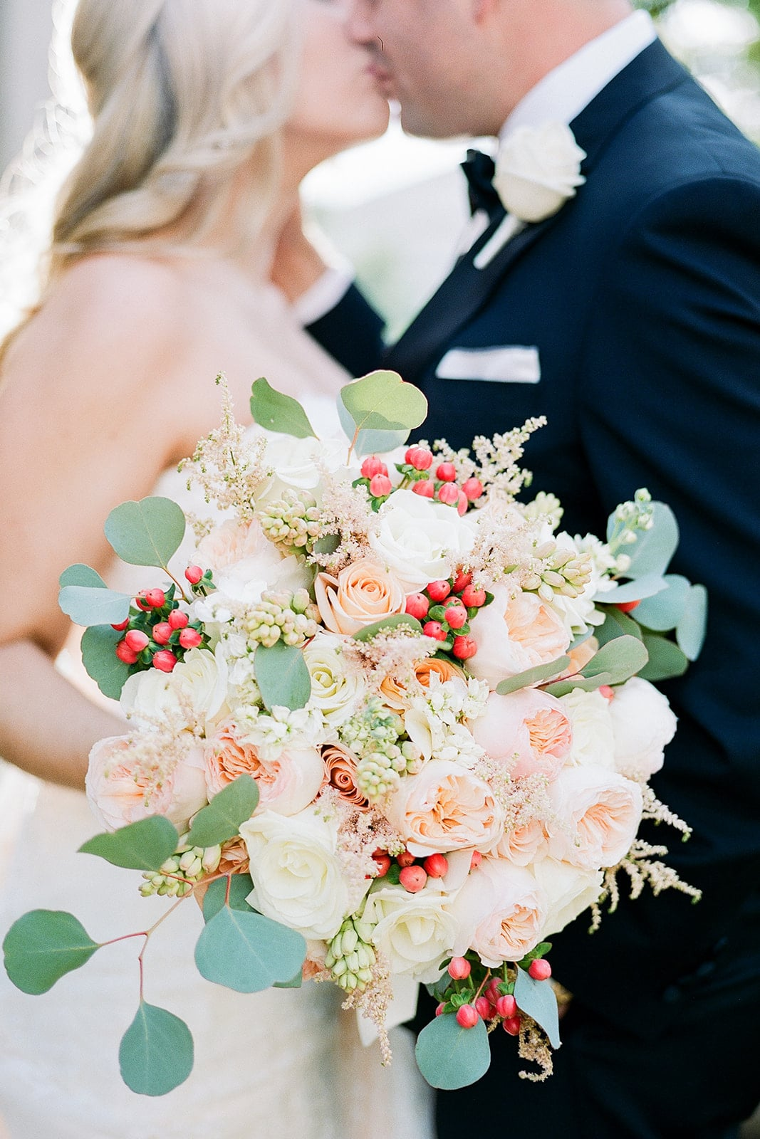 Pink and rose wedding bouquet