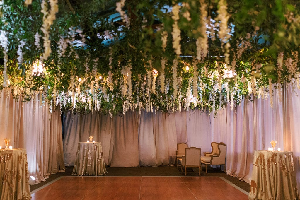 Cascading floral canopy by Mocha Rose Floral