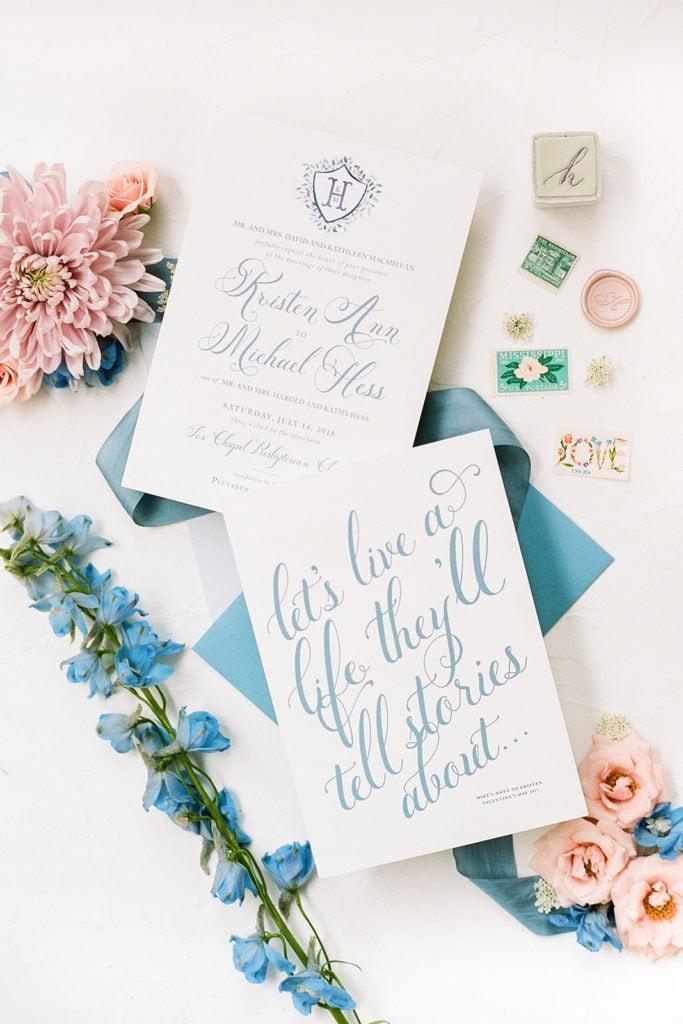 Krsiten Hess Creative dusty blue and white wedding invitations