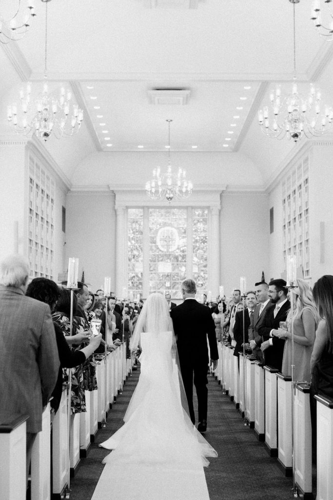 Father escorting bride down the aisle during Fox Chapel wedding
