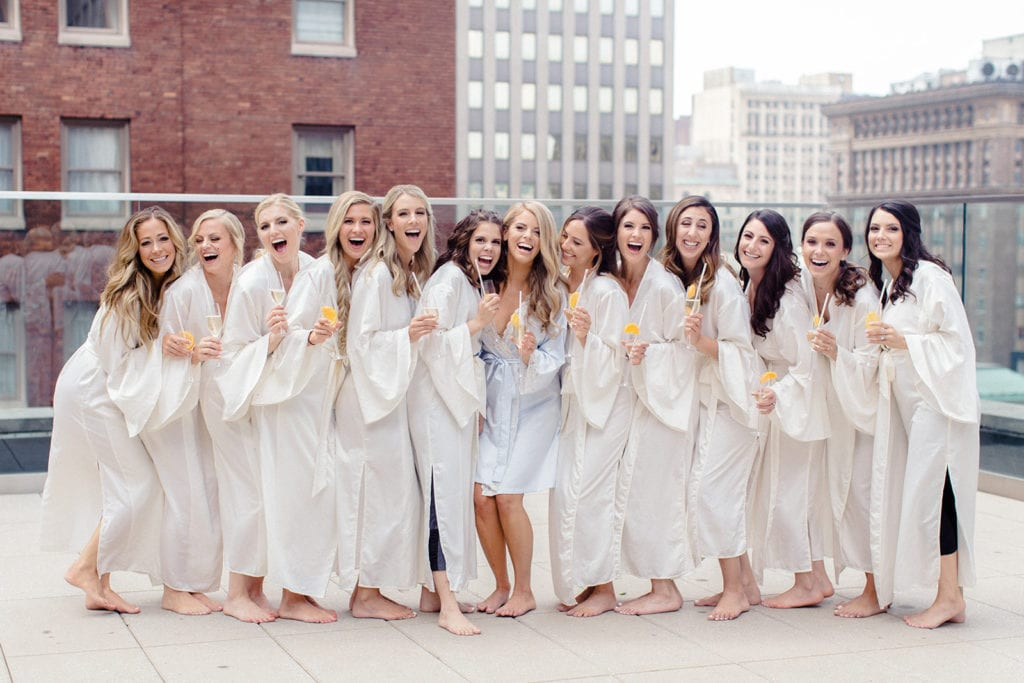 Bridal party wedding photography on Pittsburgh's Hotel Monaco rooftop