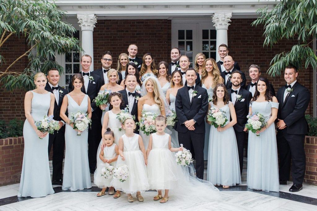 Wedding party portrait for Pittsburgh Field Club wedding