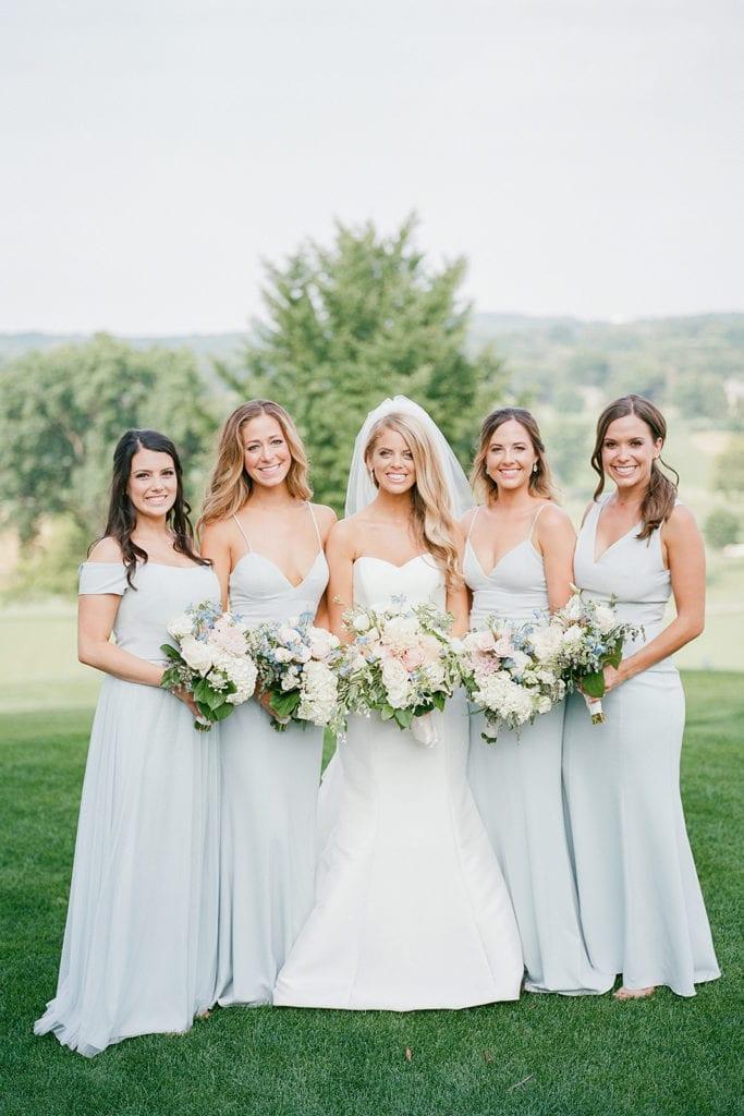 Mist colored bridesmaids dresses