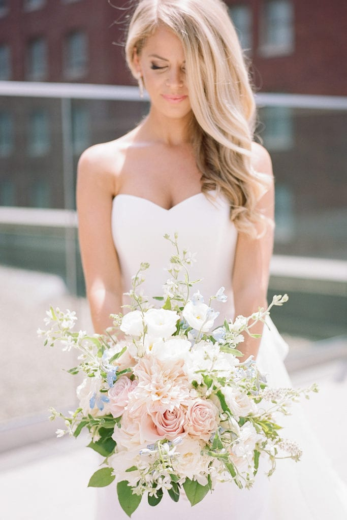 Pink and white organic wedding bouquet by Mount Lebanon Floral