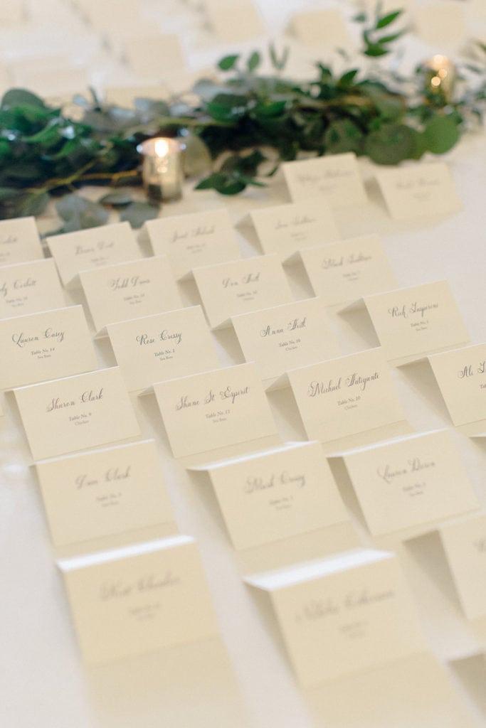 Ivory and black wedding escort cards