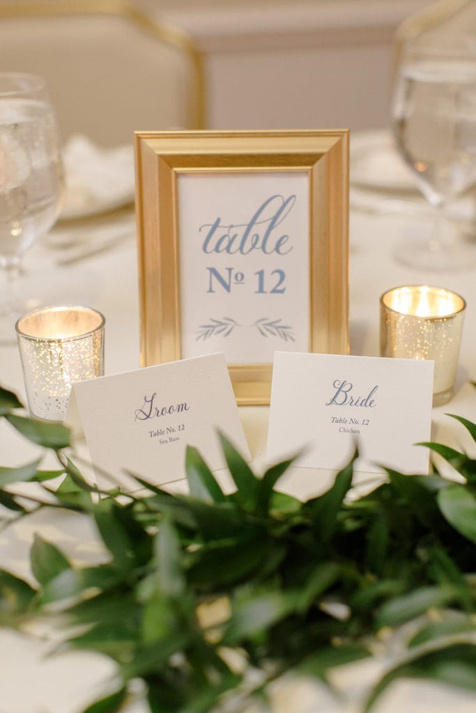 Dusty blue and gold wedding table numbers
