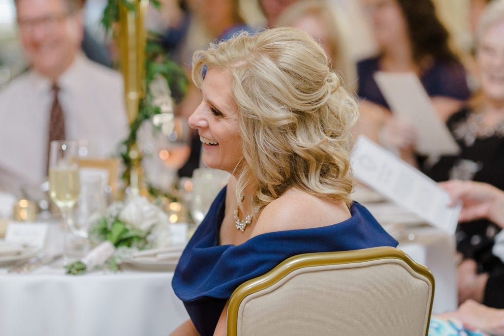 Mother of the bride listening to speeches at Pittsburgh Field Club wedding