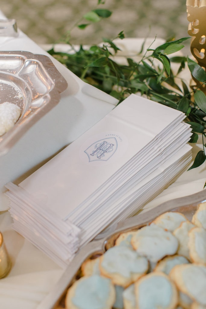 White and dusty blue wedding dessert bags