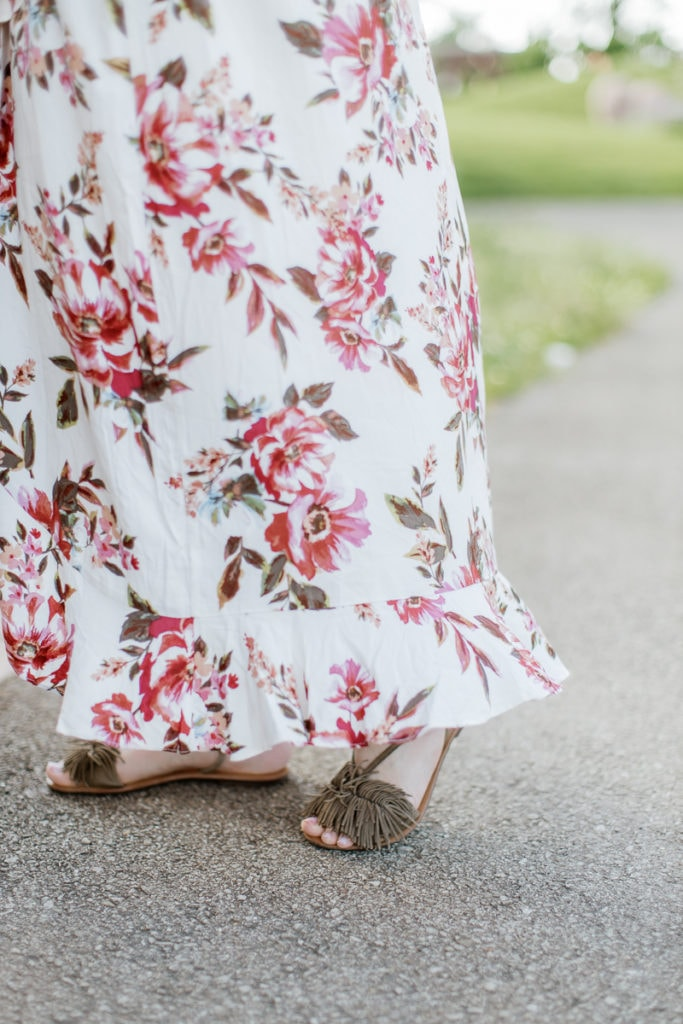 sandals with olive suede detail and light pink floral maxi dress: outdoor newborn session