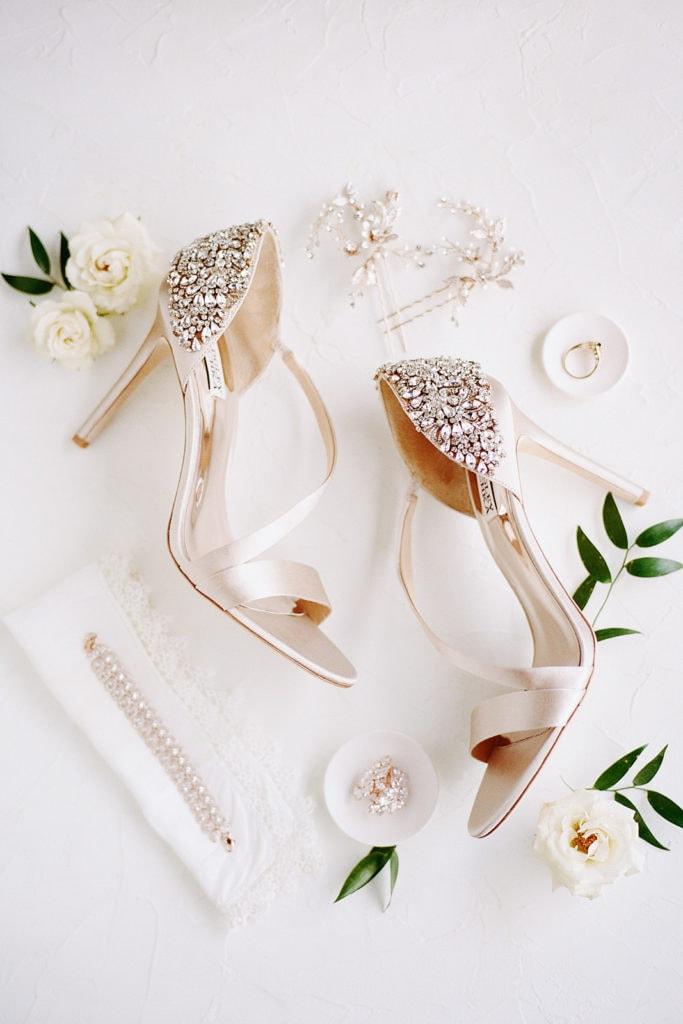 Ivory Badgley Mischka embellished wedding shoes
