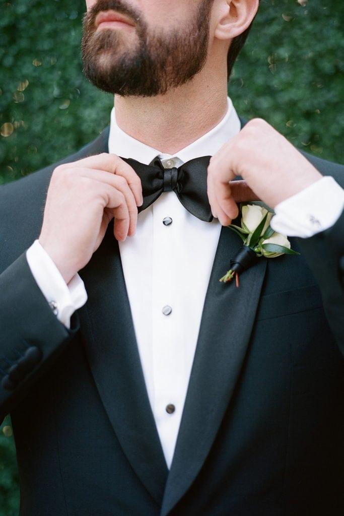 Classic black wedding tuxedo with bow tie