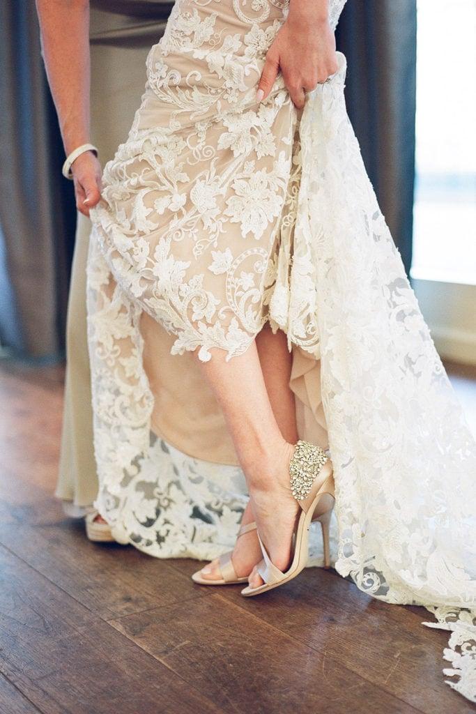 Two tone wedding dress with Badgley Mischka wedding shoes