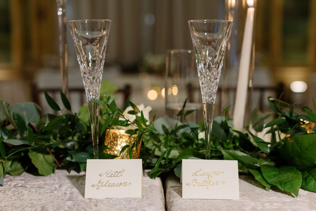 White and gold wedding escort cards
