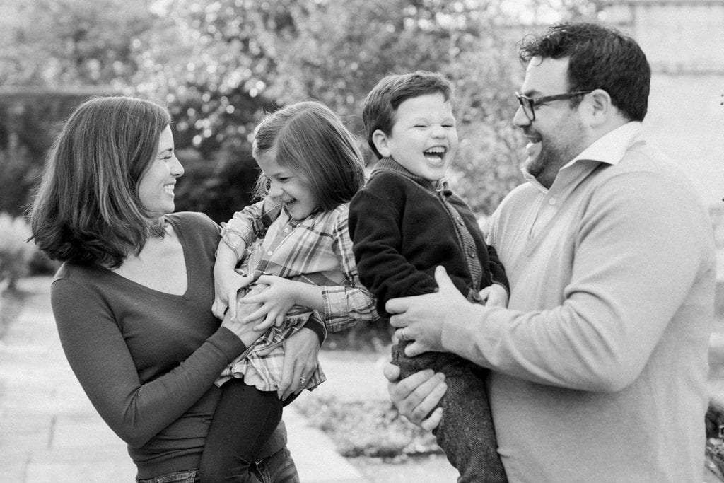 Black and white family portrait by Lauren Renee Photography