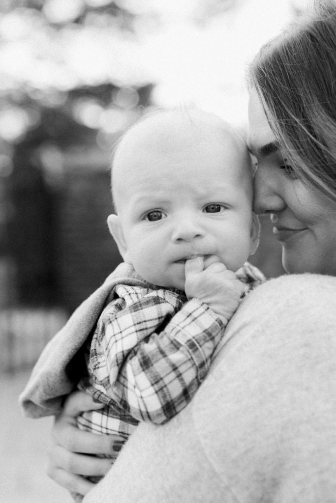 Black and white portrait of mom and baby during Mellon Park photo session