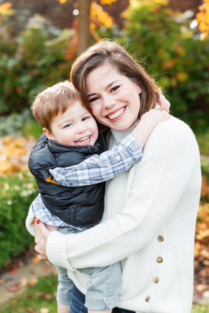 Boy hugging mom during Mellon Park family photo session