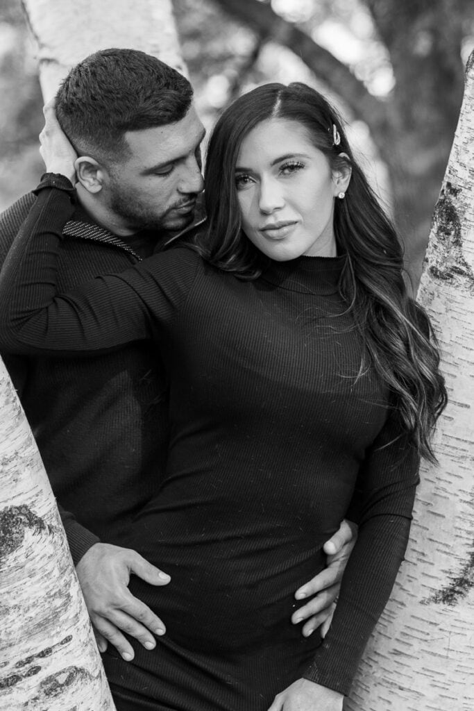 Intimate black and white couples portrait