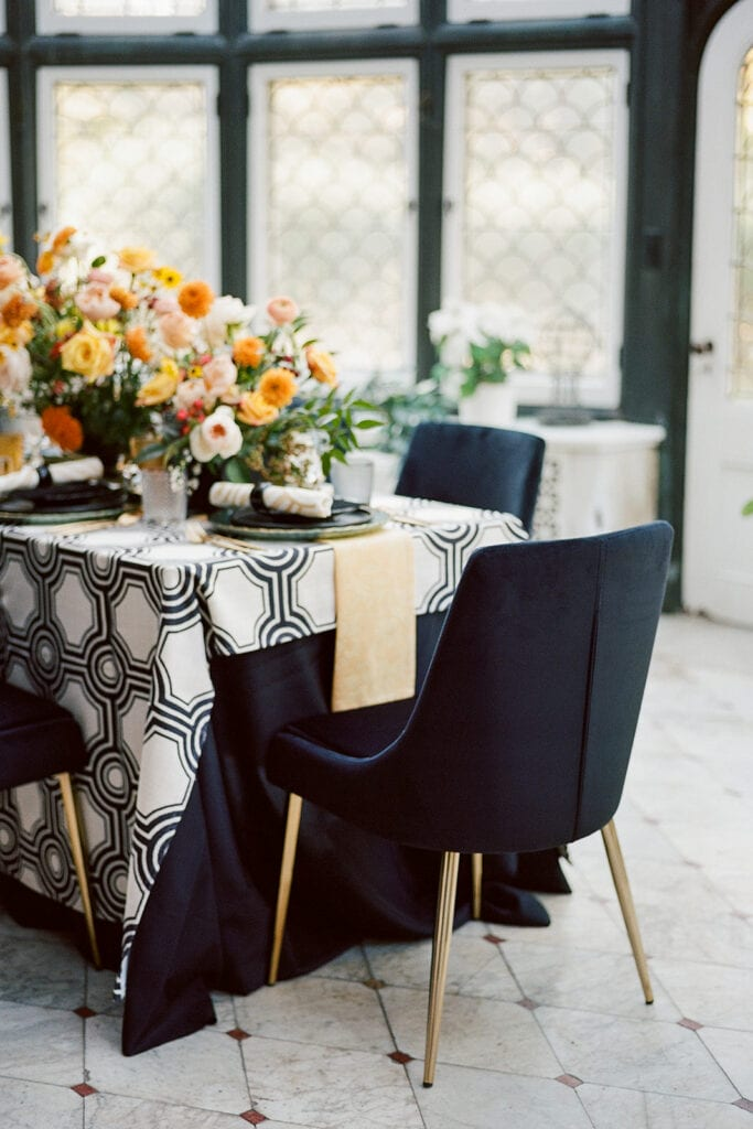 Velvet black and gold wedding table chairs