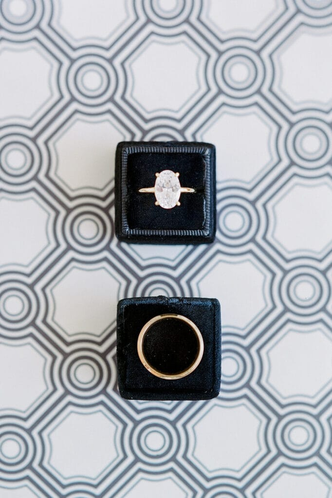 Oval wedding ring flat lay