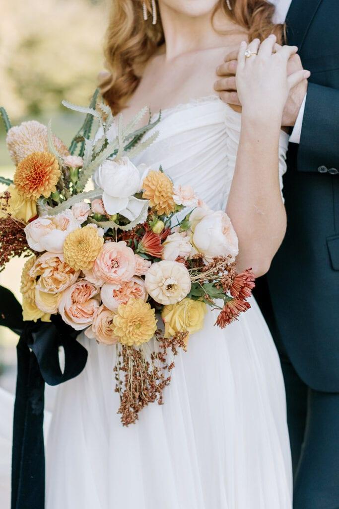 Warm colored wedding bouquet