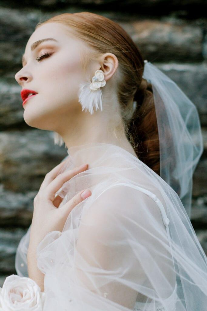 Modern white wedding earrings