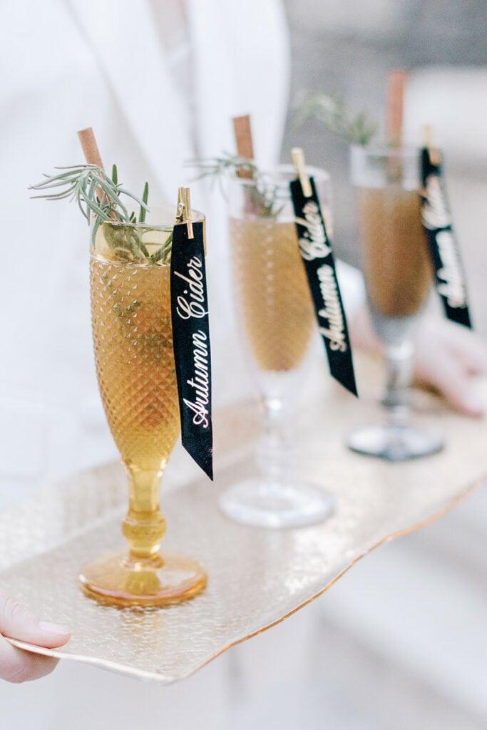 Autumn cider wedding drinks