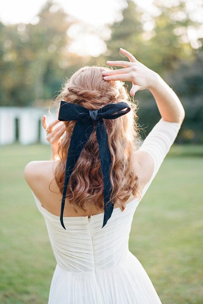 Velvet bow tie wedding hair