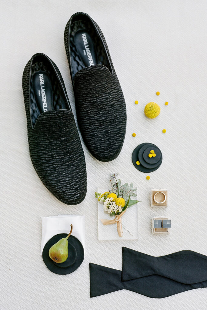 Black groom's wedding loafers