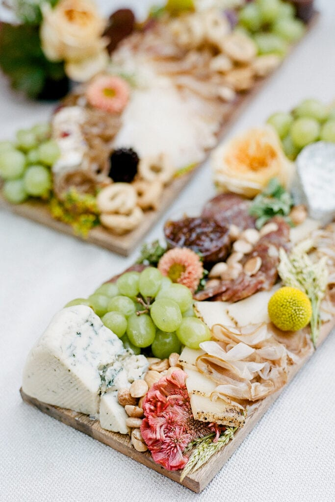 Wedding charcuterie board display