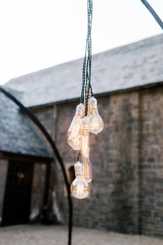 Hanging Edison bulbs wedding lighting