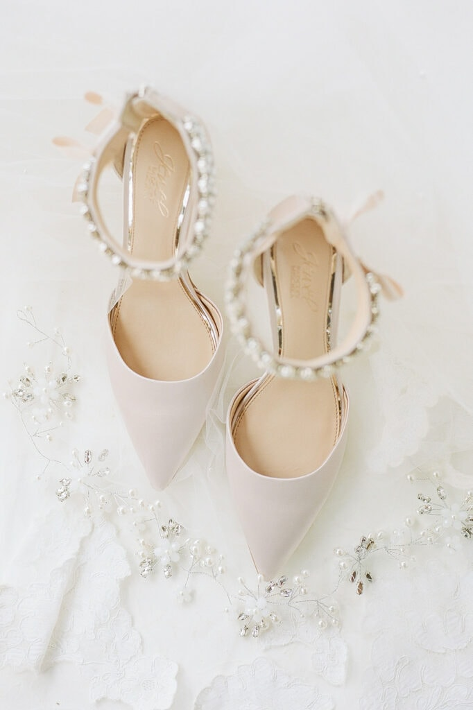Pointed nude studded wedding shoes