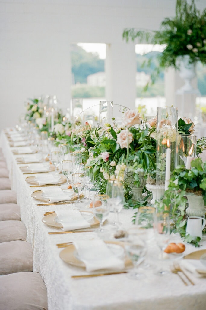 Family style wedding tables
