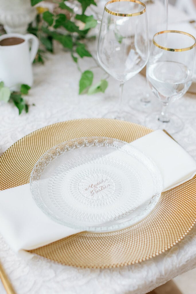 Gold wedding plate chargers