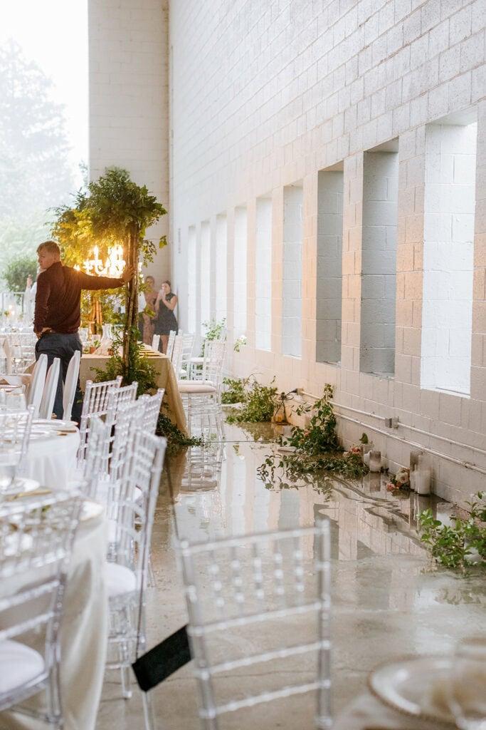 Wedding decor knocked down by microburst